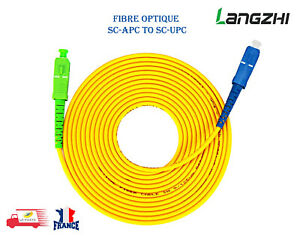 Câble Fibre Optique SC-APC à SC-UPC Simplex 3.0mm PVC pour Box Freebox Free 2/3M
