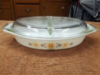Pyrex Town & Country Divided Casserole Dish Vintage Lid 1 1/2 Qt Orange Brown