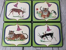 Lynn Chase Original Design Tiger Raj Coasters Set of 4 Made in England 1991