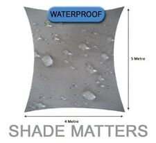 New Waterproof Shade Sail- Rectangle 4m x 5m Grey Color