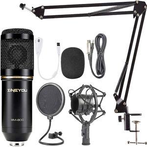 Kit de Micrófono Condensador USB con Fuente de Alimentación BMKLACK800 Negro