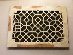 "antique house register cast iron vent grate top 8"" x 12""    working louvers"