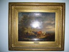 altes Gemälde Öl auf Leinwand Kühe Johann Friedrich Voltz Nördlingen München