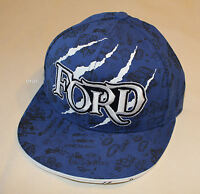 Ford Mens Blue Engine Parts Claw Printed Cotton Flat Peak Cap Hat One Size New