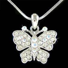 Bridal Bride w Swarovski Crystal ~BUTTERFLY Wedding Girls Women Pendant Necklace