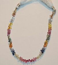 """AAA  7.5 """" Strand  Faceted Multi Sapphire Briolette Beads 3x6mm"""