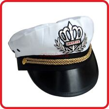 WHITE CAPTAIN HAT-PILOT,AIR FORCE,MILITARY,NAVY,YACHT,SKIPPER,SAILOR-COSTUME