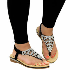 Ladies Womens Summer Beach Party Toe Post Low Wedge Diamante Sandals Shoes Size