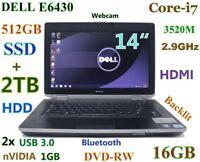 "# 3D-Design DELL E6430 i7-2.9GHz 512GB-SSD 2TB DVDRW 16GB 14"" NVIDIA BT Backlit"