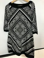 White House Black Market Dress Small Black White Stretch Travel