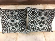 Pair Of New Designer Silk Ikat Decorative Silk Pillows 22 x 22