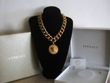 Authentic Vintage VERSACE Necklace Chunky Greek Chain Gold Tone Medusa + Box