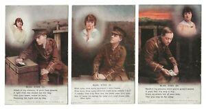 Set of 3 Bamforth WW1 Song Cards BLUE EYES Series 4878