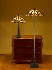 "Tiffany-style Hex Mission Lamp Set 16"" Shade"