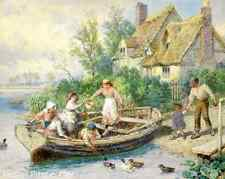 Country Children Cottage River Ducks Art The Ferry by M B Foster 8x10 Print 358