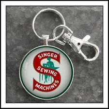 Vintage Singer Sewing Machines Emblem Photo Keychain Gift Free Shipping