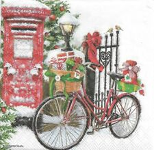 2 Serviettes en papier Velo neige Decoupage Paper Napkins Bike in snow