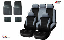 GREY CAR SEAT COVERS & RUBBER CAR MATS SET FOR FORD FIESTA FOCUS MONDEO CONNECT