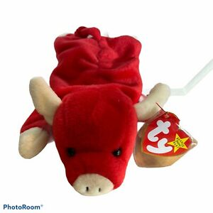 Ty Beanie Babies Snort Red Bull Cow Retired Vintage Plush Animal Toy Baby P.V.C.