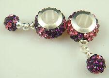 hot Gorgeous Czech Crystals Dangle Bead fit European Charm Bracelet Earrings a3v
