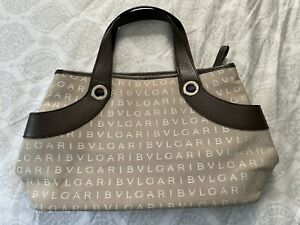 Auth BVLGARI Logo Mania Tote Handbag Beige/Brown Canvas/Leather Chick Couture
