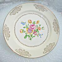 "Vintage Knowles Eldorado Dinner Plate Ivory with Gold Trim 10"""