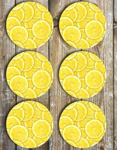 Lemons Drink Coasters Set of 6 Non Slip Neoprene - Summer Coasters