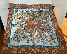 10 Momme Brico Pure Silk Scarf Floral Turquise Blue Brown And Cream