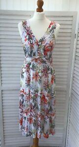 MANTARAY Sz 12 White Floral Orange Green Yellow Print Long Maxi Dress Sleeveless