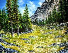 Original Signed and Dated Mountain Oil Painting Art  30x40 Canvas Bob Ross Style
