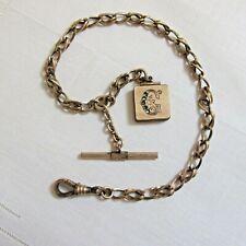 Antique Victorian Gold Filled Watch Pocket Watch Chain Monogram Locket Fob G