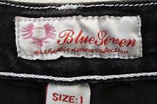 Women Jeans by Blue Seven Size 1(one) Super Stretch Black White Stitch Pre-owned