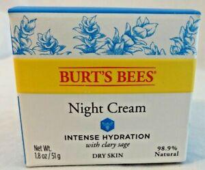 Burt's Bees Intense Hydration Night Cream w/ Clary Sage New Full Size Free Ship