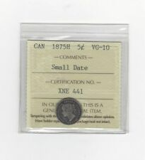 **1875H Small Date**, ICCS Graded Canadian,  5 Cent, **VG-10**