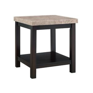 Caleb Espresso Marble-Top End Table