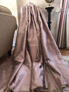 """Lucille pink dupion silk curtains embroidered thermal W 100"""" 254cm x L 85"""" 216cm"""
