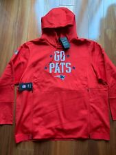 """New Mens Nike NFL On Field Patriots """"GO PATS"""" Therma Hoodie Red 2XL  $125"""