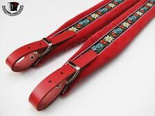 Accordion Shoulder Straps Red Velvet & Red Leather FOLK Genuine from Italy