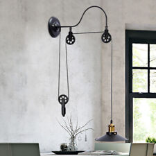 Retro Hanging Ceiling Light Pendant Industrial Retractable Pulley Lamp Fixture