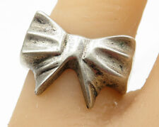 MEXICO 925 Sterling Silver - Vintage Bow Ribbon Band Ring Sz 10 - R3652