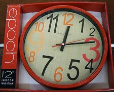 """EPOCH 12"""" WALL CLOCK- RED SURROUND AND BEIGE DIAL"""