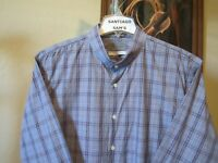 XL FITTED 17.5-33/34 JOHN W NORDSTROM BLUE PLAID BANDED COLLARLESS WESTERN SHIRT