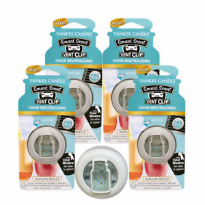 Yankee Candle Car Freshener Smart-Scent Vent Clips, 4-PACK (Bahama Breeze)
