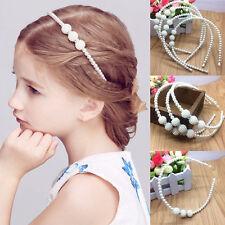 Kids Girls Pearl Crystal Beads White Headband Hairband Elegant Hair Head Band