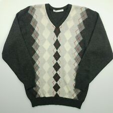 Lyle & Scott Mens Vintage Pullover MEDIUM  Grey Wool Sweater Jumper Knit V-Neck