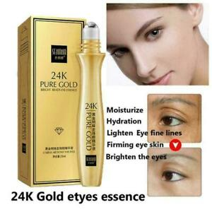 24K Gold Shiny Eye Serum Roll-in Essence Remove Dark Circles Moisturizing 1 X0G2
