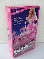 barbie dining tables chairs tavolo pranzo sedie furnishings pink 1991 NRFB 4775