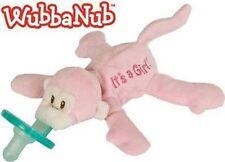 WubbaNub It's A Girl Pink Monkey Infant Binkie Pacifier Soothie Stuffed Animal