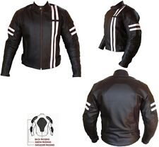 FIGHT CLUB STYLE (BRAD PITT) MENS BLACK / WHITE MOTORBIKE LEATHER JACKET