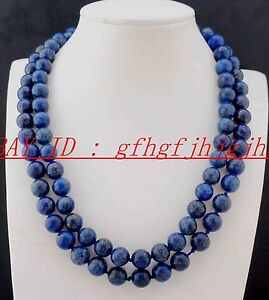 New AAA Natural 8mm 10mm 12mm Lapis Lazuli Round Beads Necklace 24- 72''